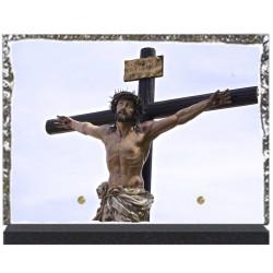 Plaque funéraire lave émaillée 28x20 Christ personnalisable LE00115