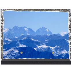 Plaque funéraire lave émaillée thème Montagne LE00124