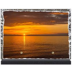 Plaque funéraire lave émaillée thème Coucher de soleil LE00126