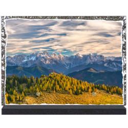 Plaque funéraire lave émaillée thème Nature Montagne LE00127
