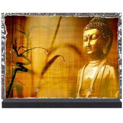 Plaque funéraire lave émaillée Religion Bouddhiste LE00110