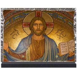 Plaque funéraire lave émaillée Religion Christ LE00113