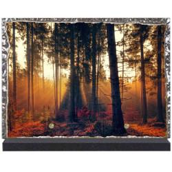 Plaque funéraire lave émaillée Nature Forêt LE00128