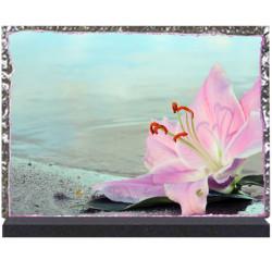 Plaque funéraire lave émaillée Lys rose LE00098