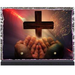Plaque funéraire lave émaillée Religion Prière LE00116