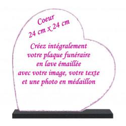 Plaque funéraire Coeur lave émaillée 24x24 personnalisable