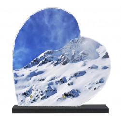 Plaque funéraire Coeur lave émaillée Montagne LE00137