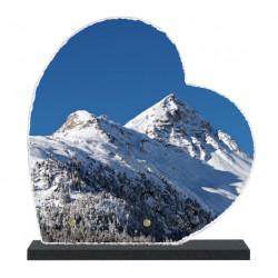 Plaque funéraire Coeur lave émaillée Nature Montagne LE00138