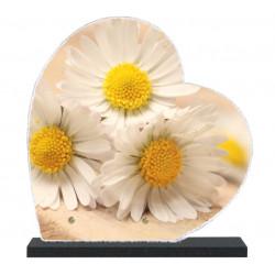 Plaque funéraire Coeur lave émaillée Nature Fleurs LE00144