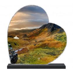 Plaque funéraire Coeur lave émaillée Nature Montagne LE00131