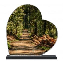 Plaque funéraire Coeur lave émaillée Nature Forêt LE00140