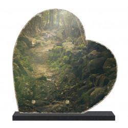 Plaque funéraire Coeur lave émaillée Nature Forêt LE00132