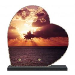 Plaque funéraire Coeur lave émaillée Coucher de soleil LE00134