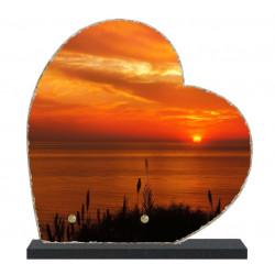 Plaque funéraire Coeur lave émaillée Coucher de soleil LE00136