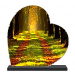 Plaque funéraire Coeur lave émaillée Nature Forêt LE00139