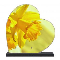 Plaque funéraire coeur lave émaillée Fleurs LE00151