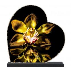 Plaque funéraire lave émaillée Fleurs Orchidée LE00153