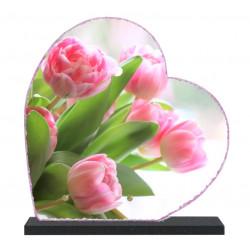 Plaque funéraire lave émaillée Fleurs Tulipes LE00146