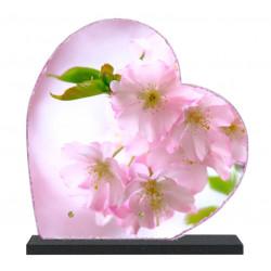 Plaque funéraire Coeur lave émaillée Fleurs LE00148