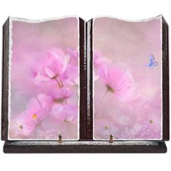 Plaque funéraire grand livre lave émaillée fleurs FPF2026RP15