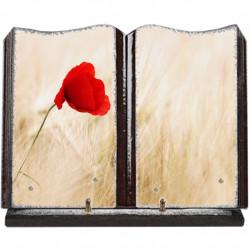 Plaque funéraire grand livre lave émaillée Coquelicots FPF2090