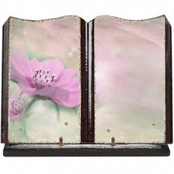 Plaque funéraire grand livre lave émaillée Fleurs FPF2022RP15