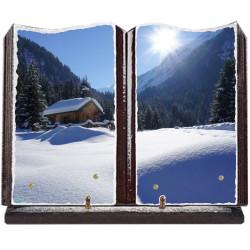 Plaque funéraire grand livre lave émaillée Montagne FPFLE00052