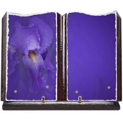 Plaque funéraire grand livre lave émaillée Fleurs FPFLE00084