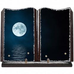 Plaque funéraire grand livre lave émaillée Pleine Lune FPFLE00016