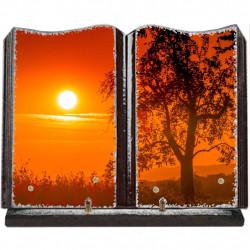 Plaque funéraire grand livre lave émaillée Soleil couchant FPFLE00030