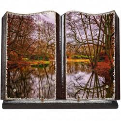 Plaque funéraire grand livre lave émaillée Nature étang FPFLE00043