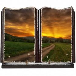 Plaque funéraire grand livre lave émaillée Campagne FPFLE00048