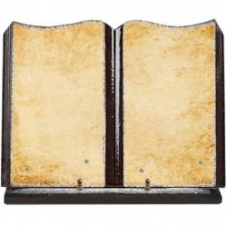 Plaque funéraire grand livre lave émaillée Parchemin FPFLE00104
