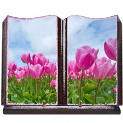 Plaque funéraire grand livre lave émaillée Tulipes FPFLE00057