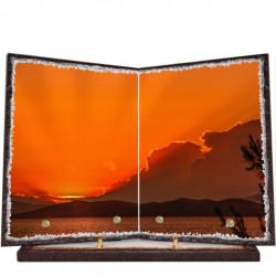 Plaque funéraire livre lave émaillée Coucher de soleil FPFLE00053