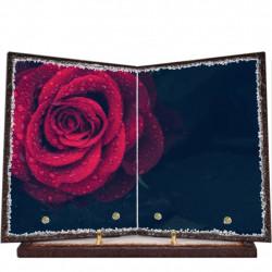 Plaque funéraire livre lave émaillée Rose Rouge FPFLE00003