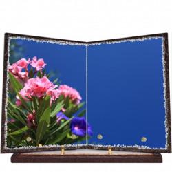 Plaque funéraire livre lave émaillée Fleurs FPFLE00007