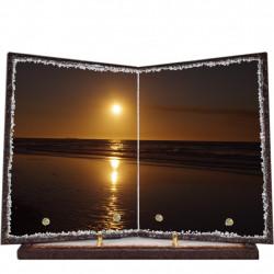 Plaque funéraire livre lave émaillée Coucher de soleil FPFLE00015