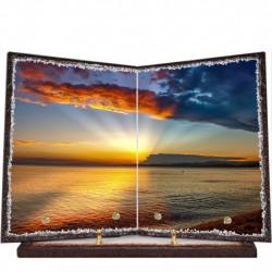 Plaque funéraire livre lave émaillée Coucher de soleil FPFLE00017