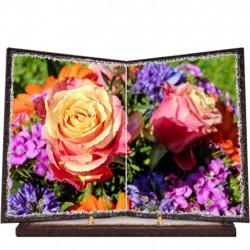 Plaque funéraire livre lave émaillée Fleurs FPFLE00028