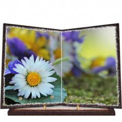 Plaque funéraire livre lave émaillée Fleurs FPFLE00041