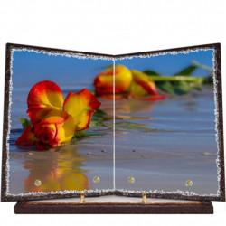 Plaque funéraire livre lave émaillée Fleurs FPFLE00056