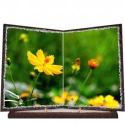 Plaque funéraire livre lave émaillée Nature Fleurs FPFLE00086