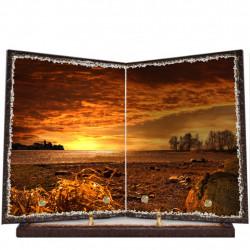 Plaque funéraire livre lave émaillée Campagne FPFLE00010