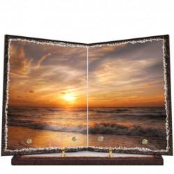 Plaque funéraire livre lave émaillée Coucher de soleil Mer FPFLE00033