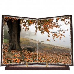 Plaque funéraire livre lave émaillée Nature Automne FPFLE00051