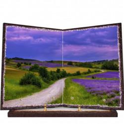 Plaque funéraire livre lave émaillée Fleurs Lavandes FPFLE00045