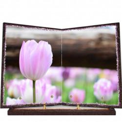 Plaque funéraire livre lave émaillée Tulipes FPFLE00087