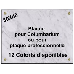 PLAQUE FUNÉRAIRE CAVURNE - COLUBARIUM 40X30 GRANIT