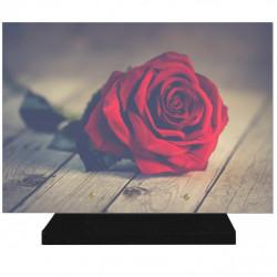 PLAQUE FUNÉRAIRE FLEURS ROSE ROUGE 25 cm X 35 cm FPF2023